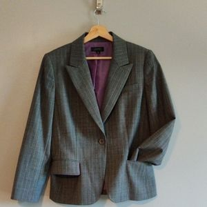 Grey with Purple Pinstripe Pant Suit